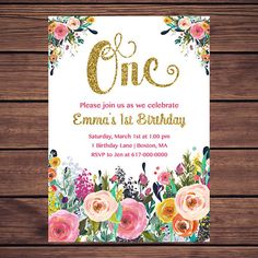 Floral Birthday Invitation Girl, Any Age Floral Pink Gold First Birthday Invitation, Girl ONE Birthday 891 Printable Invitation Princess First Birthday, Gold First Birthday, 10th Birthday Parties, 1st Birthdays, 1st Birthday Girls, Mickey Invitations, 1st Birthday Invitations Girl, Baby Sprinkle Invitations, Printable Invitations