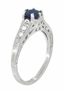Art Deco Sapphire and Diamonds Filigree Engagement Ring in 14 Karat White Gold - Click to enlarge