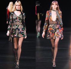 Saint Laurent 2015 Spring Summer Womens Runway Catwalk Looks - Mode à Paris Fashion Week Prêt-à-Porter Mode Féminin Femme France - 1970s Seventies Denim Jeans Patchwork Shorts Low Neckline Studs Sequins Leopard Cheetah Print Flowers Dots Stars Furry Jacket Outerwear Blazer Skirt Frock Stripes Pants Trousers Leather Metallic Embroidery Babydoll Dress Camouflage Snake Python Peacock Feathers Cherries Suede Pantsuit