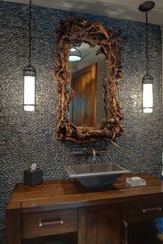 Interior Design bathroom with wood mirror #interior #design #bathroom
