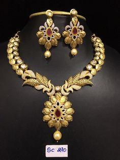 jewellery Gold Jewellery Design, Gold Jewelry, Beaded Jewelry, Jewelery, Indian Wedding Jewelry, Indian Jewelry, Bridal Jewelry, Gold Set, Antique Jewelry