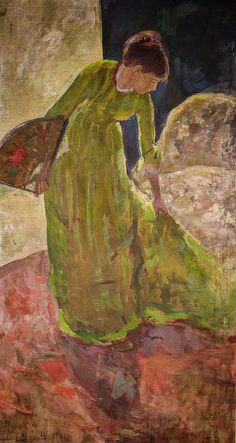 Mary Cassatt - Woman Standing Holding a Fan, 1879 at Degas - Cassatt Exhibit at National Gallery of Art Washington DC Pittsburgh, Edgar Degas, Mary Cassatt Art, Impressionism Art, American Impressionism, National Gallery Of Art, Pennsylvania, Portraits, Still Life Photography