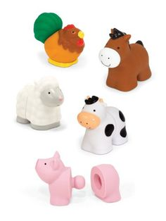 Five adorable animals pop together pull apart and add up to a farmyard of fine motor fun! Ten linkable pieces include five heads and five tails to make a horse cow sheep pig and hen . . . or any...