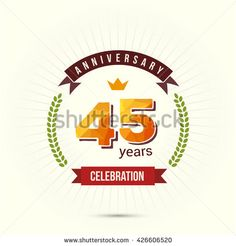 45 Years Anniversary with Low Poly Design and Laurel Ornaments - stock vector