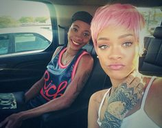short pink pixie hair | Rihanna Shows Off New Bright Pink Pixie Cut