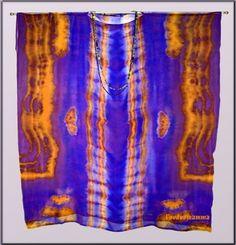 'COPTIC CAFTAN'  Shibori Dyed Silk Chiffon Caftan.