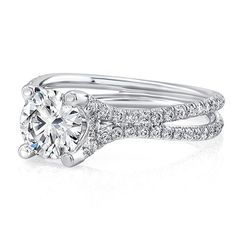 This solitaire engagement ring is a classic done right. (80 Rounds= 0.40CT To fit a 1CT Center)