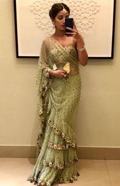 Do you need the best Modern Indian Sari and items like Elegant Designer Saree plus Bollywood saree in which case CLICK VISIT link above for more info Saree Gown, Sari Dress, The Dress, Lehenga, Net Saree, Sabyasachi, Anarkali, Trendy Sarees, Fancy Sarees