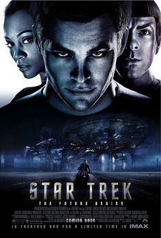 Star Trek (2009) PG-13 - Stars: Chris Pine, Zachary Quinto, Simon Pegg.  -  The brash James T. Kirk tries to live up to his father's legacy with Mr. Spock keeping him in check as a vengeful, time-traveling Romulan creates black holes to destroy the Federation one planet at a time.  -  ACTION / ADVENTURE / SCI-FI