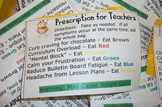 On the first day back to inservice I'm going to put these out for the teachers. teaThis is a perscription for Teachers attached to a mini ba. Teacher Treats, School Treats, School Gifts, Teacher Gifts, Ms Teacher, Teacher Presents, Teacher Cards, Teacher Retirement, Retirement Gifts
