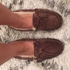 UGG Espresso Moccasins Very good condition UGG Moccasin Indoor/Outdoor Slippers. Can be worn outside with rubber sole. Minor weathering under front toe area (see photos). UGG Shoes Moccasins
