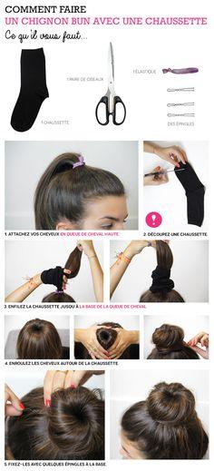Comment faire un chignon bun avec une chaussette #tuto #cheveux #hair #tutoriel