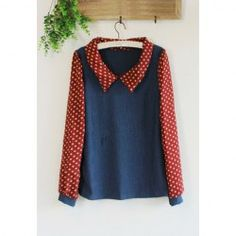 $7.09 Retro Style Turndown Collar Polka Dot Chiffon Puff Sleeve Blouse For Women