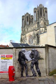 """Artist: #LEVALET - https://www.levalet.xyz/   -""""Le progrès"""" - City: Reims, France #StreetArt #urbanart"""