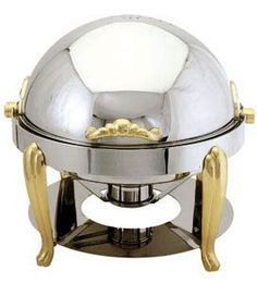 8 QUART SOLID BRASS ACCENTED CHAFER CHAFING DISH