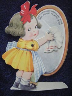 Charles Twelvetrees Valentine: antique mechanical valentine girl cleaning a mirror