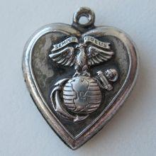 "1940's USMC Puffy Heart Charm ""Semper Fidelis"" engraved ""Marie"""