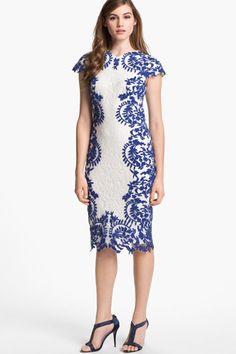 Tadashi Shoji Embroidered Detail Lace Sheath Dress,