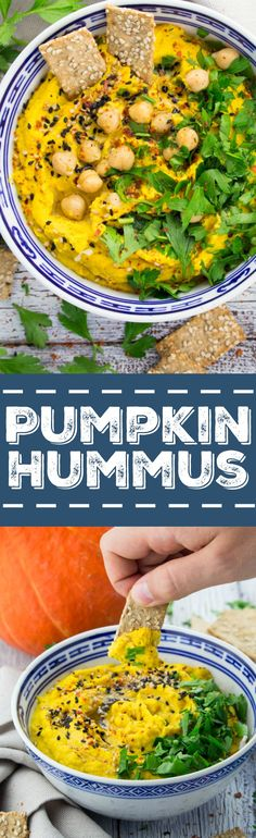 This vegan pumpkin hummus with fresh parsley and sesame seeds is the perfect fall snack. Delicious, packed with protein, and really easy to make!
