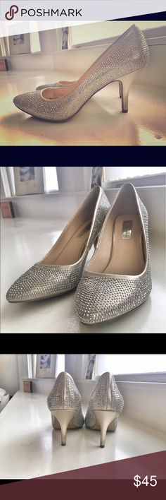 Silver and rhinestone heels 2 inch Worn once! So comfortable ;) INC International Concepts Shoes Heels