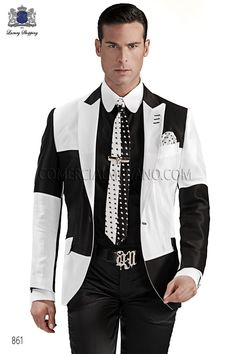 Italian bespoke fashion suit, white-black patchwork jacket in cotton pique fabric, with fashion peak lapel profile and 1 button; coordinated with black satin trousers, style 861 Ottavio Nuccio Gala, 2015 Emotion collection.