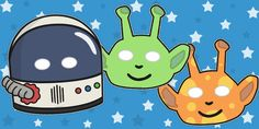 Astronaut And Alien Role Play Masks - astronaut, alien, space