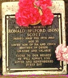 """Bon Scott (1946 - 1980) Singer, Musician. Born Ronald Belford Scott, he began his musical career as a bagpipe player with his father's highland band. He sang for the bands """"The Valentines"""" and """"Fraternity"""" before joining the heavy metal band """"AC/DC"""" in 1974, replacing singer Dave Evans."""