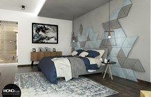 Realizacja. Panele Isos w sypialni. Projekt i realizacja wykonana przez MONOstudio.