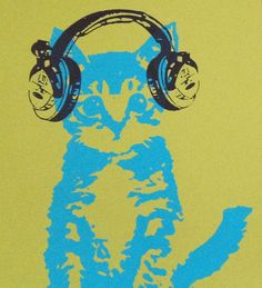DJ Kitten with Headphones Silkscreened 8x10 Print