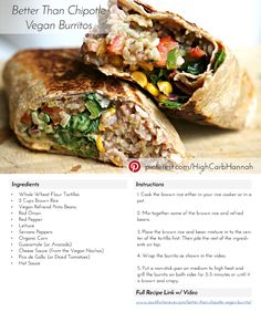 Plant Based Proteins: 12 Meatless Recipes That Are Actually Filling Badass Vegan Burrito Veggie Recipes, Healthy Dinner Recipes, Mexican Food Recipes, Whole Food Recipes, Vegetarian Recipes, Cooking Recipes, Healthy Soup, Best Vegetarian Burrito Recipe, Mexican Vegan Food