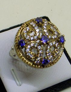 Vintage Amethyst Ring  Sterling Silver  With Diamonds by JanEleven