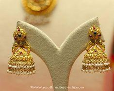 22k gold temple jhumkas from Manubhai Jewellers