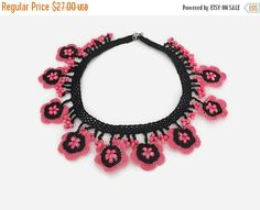 Crohet flower Necklace in pink and black - Knitted Summer Necklace This elegant, unique and delicate flower necklace is hand crocheted with Turkish oya thread . Summer Necklace, Flower Necklace, Crochet Necklace, Birthday Gifts For Her, Hand Crochet, Boho Jewelry, Pink Flowers, Pendant, Handmade Gifts