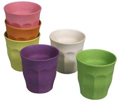 Cups - Assorted Colour - 7.5 x 7.5 x 7.5cm - Bamboo, Corn - Biodegradable - Zuperzozial - Set of 6