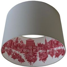 Print on parchment and line inside of a plain lamp shade. Timorous Beasties Lampshades - New York City Toile