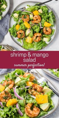 For a light and refreshing entree, enjoy shrimp salad with mango and avocado. Even better, you can have this main dish salad on the table in less than 30 minutes. Healthy Salad Recipes, Lunch Recipes, Seafood Recipes, Cooking Recipes, Main Dish Salads, Main Dishes, Shrimp Mango Salad, Homemade Teriyaki Sauce, Seafood Dinner