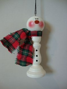 Snowman Candlestick Ornament - this gives me the idea to use an old chess piece to make a snowman Snowman Crafts, Christmas Projects, Holiday Crafts, Yule Crafts, Christmas Ideas, Candlestick Crafts, Christmas Snowman, Christmas Holidays, Snowman