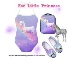 #Unicorn and Rainbow slip on shoes, backpack, girls one piece swimsuit. Design by #erikakaisersot sold by @forudesigns https://www.forudesigns.com/store/1740696