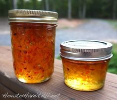 peach pepper jelly, worked great and I adapted it to raspberry pepper jelly too. Just swapped the peaches for raspberries