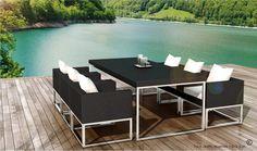 Table et 6 fauteuils encastrable de qualité en résine tressée noire  1219.00 €