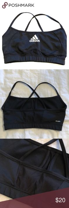 NWOT Black Strappy Mesh Adidas Sports Bra Never before worn!! In perfect condition. Made of polyester & spandex with mesh in back. Adorable sports bra that makes working out cute!! Straps are racerback style. Has light cups without underwire inside as seen in pics. Fits TIGHT so very supportive. Perfect for spring & summer! adidas Intimates & Sleepwear