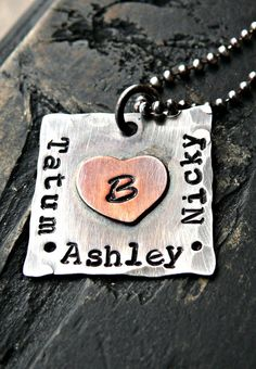 Hand Stamped Jewelry - Personalized Jewelry - Personalized Mothers Necklace - Yourcharmedlife via Etsy