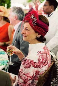 turban with netting and costume jewelry. Turbans, Red Fascinator, Fascinators, Headpieces, Ann Street Studio, Ladies Who Lunch, Advanced Style, Bandanas, Headdress