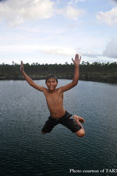 Woohoo! Jumping into the Blue Hole on Andros, Bahamas!