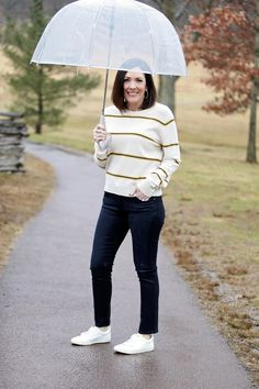 Here in Pennsylvania, we get quite a mix of weather, which makes outdoor photo shoots very interesting. Today's look was my attempt to make the best of a rainy day. as it turns out, this outfit is perfect for springtime in the northeast. Rainy Day Fashion, Spring Fashion Trends, Other Outfits, Sustainable Clothing, Dark Wash Jeans, Fashion Over 40, Ankle Jeans, My Outfit, Outfit Ideas