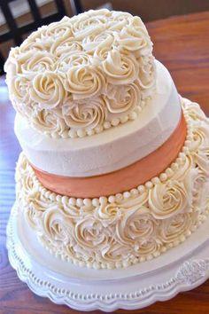 Magnolias and Pearls Wedding Cake...