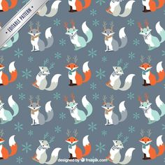 Christmas fox pattern Free Vector By freepik