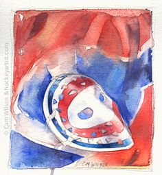 Watercolour painting of Ken Drydens Montreal Canadiens mask. Art by Cam Wilson. www.hockeyartist.com