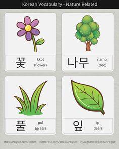 korean nature related words Korean Verbs, Korean Phrases, Japanese Phrases, Learn Basic Japanese, Learn Basic Korean, Korean Words Learning, Japanese Language Learning, Learn Korean Online, Learn Hangul