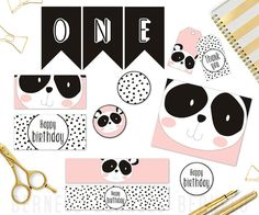 birthday girl printable, birthday girl party, birthday girl banner, birthday girl decoration, birthday pink and gold 1 Year Old Birthday Party, Panda Birthday Party, Panda Party, Baby Birthday Cakes, Bear Party, Animal Birthday, 1st Birthday Girls, 1st Birthday Girl Decorations, Diy Party Decorations